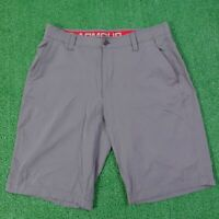 """UNDER ARMOUR HEAT GEAR LOOSE FLAT FRONT GRAY GOLF SHORTS MENS SIZE 34 (10.5"""" INS"""