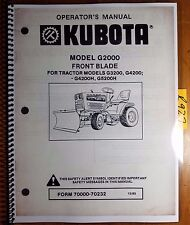 Kubota G2000 Front Blade for G3200 G4200 G4200H G5200H Operator's & Parts Manual
