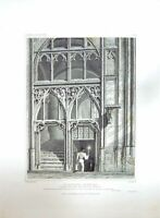 Original Old Antique Print 1828 Gloucester Cathedral Aile Choir Bartlett Keux