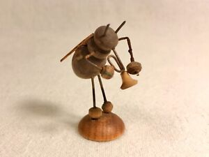 Vintage ERZGEBIRGE Bug Playing Horn -Wood with Wings Germany miniature