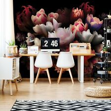 Red Flowers Black Background Photo Wallpaper Wall Mural Fleece EasyInstall Paper