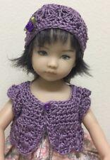 """Crochet """"Purple """" Sweater  & Hat ~Effner Little Darling Or Similar 13-14"""" Dolls"""