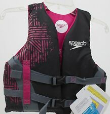 Speedo Girls Black Pink Youth Off The Grid Personal Flotation Device 50-90 lbs