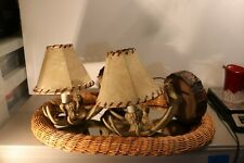 PAIR OF WALL LAMPS WITH DEER HORNS MAN MADE WITH SHADES NEW