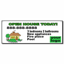 Open House Today Logo Custom Phone Message Banner Sign w/ Grommets 2 ft x 4 ft