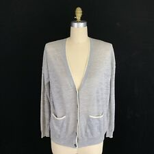 Madewell Gray Color Tip Linen Cardigan Sweater Womens Size Large A33321