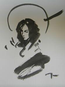 JOSE TRUJILLO - ABSTRACT EXPRESSIONISM INK WASH Saint Angel Woman Art New 9x12