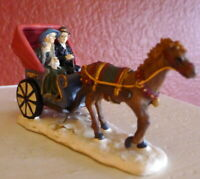 One Horse Carriage Victorian Couple Christmas Grandeur Noel Village 2000