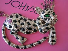 BETSEY JOHNSON DAY AT THE ZOO CROWNED LEOPARD FRONTAL STATEMENT NECKLACE~RARE
