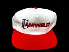 Vintage 1980-90's AMWELD  Red/ White Trucker Flat Bill Snap Back Cap Hat (A1)