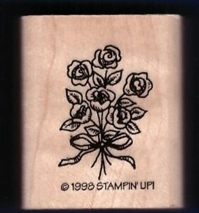 ROSES BOUQUET Bow Shower Gift Tag Stampin' Up! 1998 wood Craft RUBBER STAMP