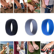 Black Blue Gray 3PC Men Women Wedding Ring Rubber Silicone Band Active Sport Gym