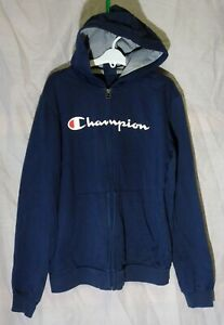 Boys Girls Champion Dusky Blue Logo Front Hooded Jacket Hoodie Age 13-14 Years
