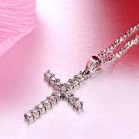 Rhinestone Crystal Jesus Cross Pendant Sweater Chain Necklace Jewelry F