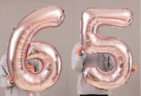 "65th Birthday Party 40"" Foil Balloon HeliumAir Decoration Age 65 Rose Gold lite"