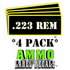 "223 REM Ammo Label Decals Ammunition Case 3"" x 1"" Can stickers 4 PACK -YWbkRD"