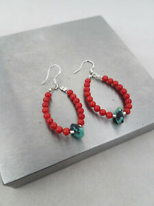Round Red Coral Earrings with Turquoise Bead