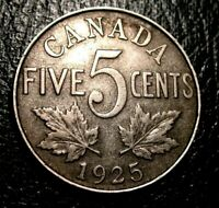 OLD CANADIAN COINS KEY DATE 1925 CANADA FIVE CENTS