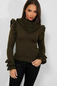 LONG SLEEVE RUCHED JUMPER WOMENS PULLOVER BLOUSE FRILL KNIT SWEATER 10 S M L