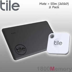 GENUINE Tile Mate + Slim 2020 Bluetooth Tracker Starter 2 Pack with Battery