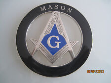 New Masonic Master Mason Cut out Car  Emblem Silver on Black