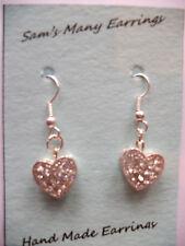 Shamballa Crystal Love Heart Drop Earrings 6 Colours Available Hand Made