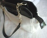 LEONA EDMISTON BLACK PATENT LEATHER WHITE HANDBAG HAND BAG GOLD HARDWARE