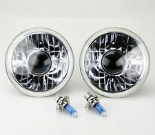 "7"" Round Semi Sealed H4 Clear Projector Glass Headlight Conversion w/ Blue Bulbs"