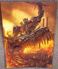 Transfomers Optimus Prime & Grimlock Glossy Print 11 x 17 In Hard Plastic Sleeve