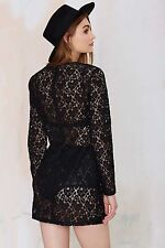 Nasty Gal After Party Vintage Viola Lace Black See Through Dress NWT SZ XS