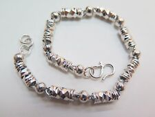 "7.28""L Pure 925 Sterling Silver Bracelet Men Bamboo & Bead Chain"