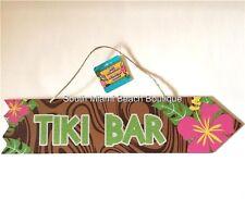 TIKI BAR Wood Sign Luau Aloha Hawaiian Beach Flowers Wall Door Island Decoration