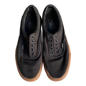Van black simple brown bottom sneakers no laces Men size 7 women size 8.5