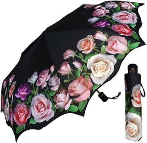 "42"" Arc Pink Rose Print Auto-Auto Mini Umbrella - RainStoppers Rain/Sun UV"