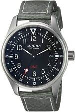 Alpina Startimer Men's Swiss Quartz GMT Gray Nylon Strap 42mm Watch AL-247B4S6