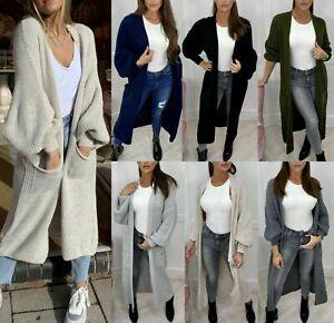 Women's Ladies Chunky Knitted Oversized Balloon Sleeve Long Jumper Maxi Cardigan
