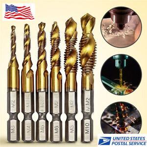 6PCS Hex Shank Drill Bits Set Titanium Plated Screw Thread Compound Tap Drill US