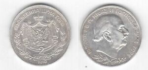 MONTENEGRO RARE SILVER 2 PERPERA XF COIN 1910 YEAR CRNA GORA KM#7