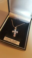 925 Sterling Silver Small Open Cross Pendant Necklace - Boxed