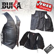 BUKA GEARS Men's Black Genuine Leather 8 Pockets Motorcycle Biker Vest M TO 6XL