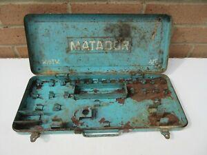 Vintage industrial garage Matador metal socket set storage tool box EMPTY