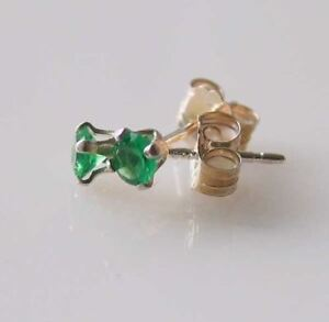 May! Round 3mm Created Green Emerald & 925 Sterling Silver Stud Earrings 10146E