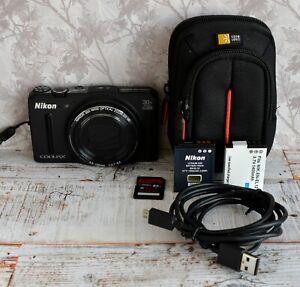 Nikon Black Coolpix S9700 30x Zoom Compact Digital Camera GPS WiFi Ect