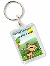 Personalised Kids Childs School Bag Tag Animal Keyring With Cat AK79