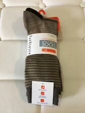 Van Heusen Men's Dress Socks 4 Pairs Black/ Tan Solid/Striped Shoe Size 6-12.5