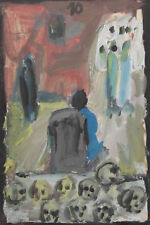 Vintage abstract expressionist small gouache painting figures