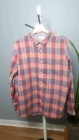 Country Road Men's red checked collard shirt long sleeves button up size XL