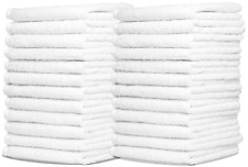 48x White Hotel Quality Face Cloths Washcloth 100% Organic Cotton Makeup Remover