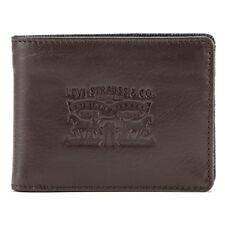 Levi's Brown Leather & Denim Billfold Wallet Coin Pocket in Gift Tin