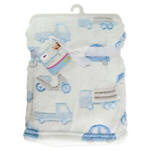 Baby Boy Fleece Newborn + Blanket   75x100cm   Pram, Cot, Moses   Blue Scooter &